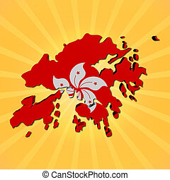 Hong Kong map flag on sunburst illustration