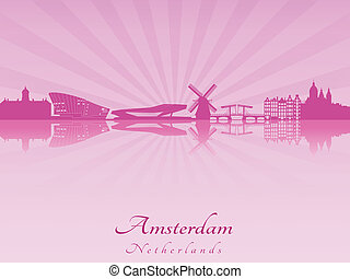 Amsterdam skyline in radiant orchid