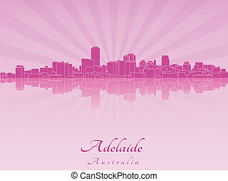 Adelaide skyline in radiant orchid