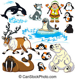 set with cartoon animals of arctic Isolated pictures for...