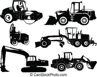 construction machines - vector - illustration of...