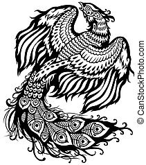 phoenix black white - phoenix celestial bird, black and...