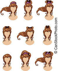 Brown hair in different styles - Set of different hairstyles...