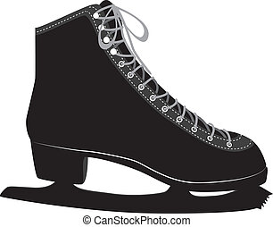 Ice skate - Black silhouette of an ice skate on white...