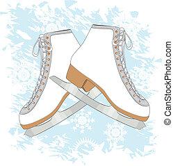 Ice skates background - Grunge blue background with ice...