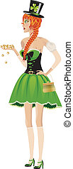 Leprechaun girl with gold coins - Beautiful red haired...