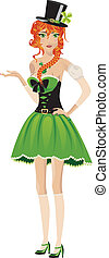 Leprechaun girl - Beautiful red haired leprechaun girl on...