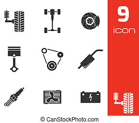 Vector black car parts icons set on white background