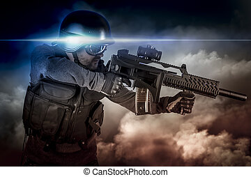 Soldier in uniform with rifle, assault sniper on apocalyptic...