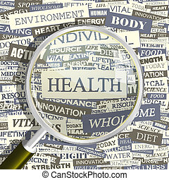 HEALTH. Concept related words in tag cloud. Conceptual...
