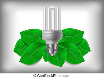 Energy saving bulb and green leaves