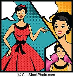 Illustration of retro girl in pop art style.