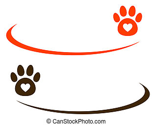 decorative background with paw - decorative line with paw on...