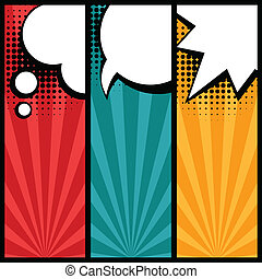 Set of speech bubbles in pop art style