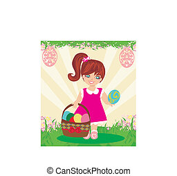 Easter card with girl and a basket of eggs