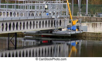Waste water treatment clarifier - Close up of wastewater...
