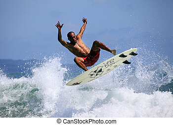 Live your life to be happy - Young men - the surfer in ocean...