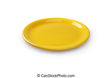 yellow plate - A yellow plate on the white background