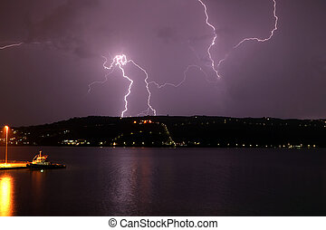 Lightning strike on Akrotiri