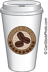 Coffee To Go Cup Design With Beans - Illustration of a...