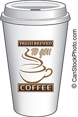 Coffee To Go Cup Design Fresh Brewe - Illustration of a...