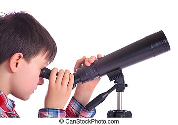 Boy with telescope - A portrait of a teenage boy looking...