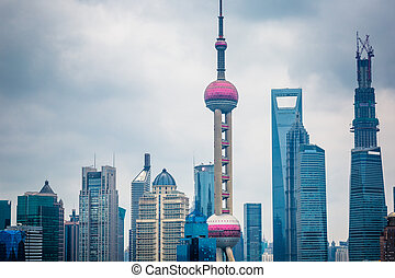 The Oriental pearl TV tower,the landmark of shanghai china