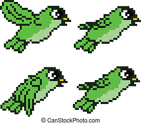 Pixel Bird Sprite for game asset
