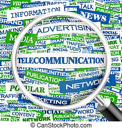 TELECOMMUNICATION Word cloud illustration Tag cloud concept...