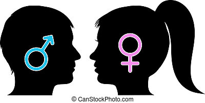 Male and female icons in silhouettes