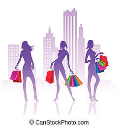 shopping ladies - vector illustration of ladies with bags...