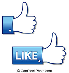 "like icon - blue vector illustration of hand icon for ""like"""