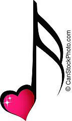 Music note with shiny heart