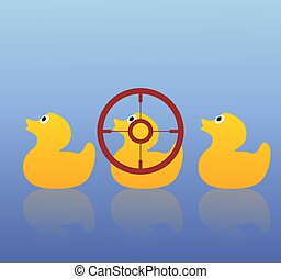Duck Hunting - Illustration of three ducks with the middle...