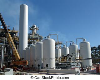 refinería, debajo, construcción