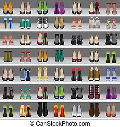 shoes on shelves in shop - Seamless background with shoes on...