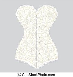 vintage corset - Lace white vintage corset on gray...