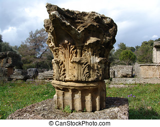 Greek column in Olympia - Olympia Greece was the site of the...