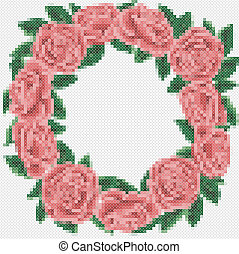Embroider frame with bouquet of the roses