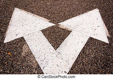 Left and right signs on the road