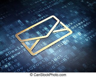 Business concept: Golden Email on digital background, 3d...