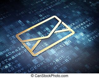 Business concept: Golden Email on digital background, 3d...