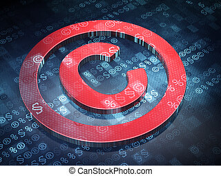 Law concept: Red Copyright on digital background, 3d render