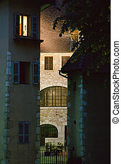 Small place in medieval town of Annecy, France - Small place...