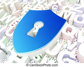 Privacy concept: Shield With Keyhole on alphabet background,...