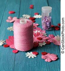 rosa, arte, Materiales