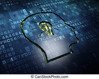 Finance concept: Head With Lightbulb on digital screen...