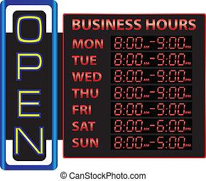 Digital time display of business