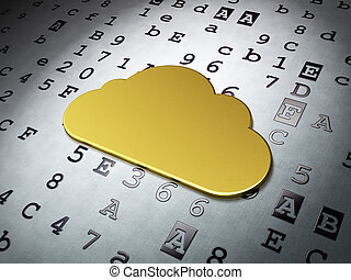 Cloud networking concept: Golden Cloud on Hexadecimal Code...