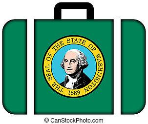 Suitcase with Washington State Flag